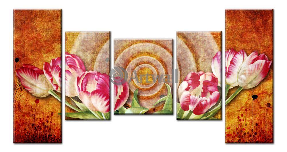 Модульная картина «Магия тюльпанов»Цветы<br>Модульная картина на натуральном холсте и деревянном подрамнике. Подвес в комплекте. Трехслойная надежная упаковка. Доставим в любую точку России. Вам осталось только повесить картину на стену!<br>