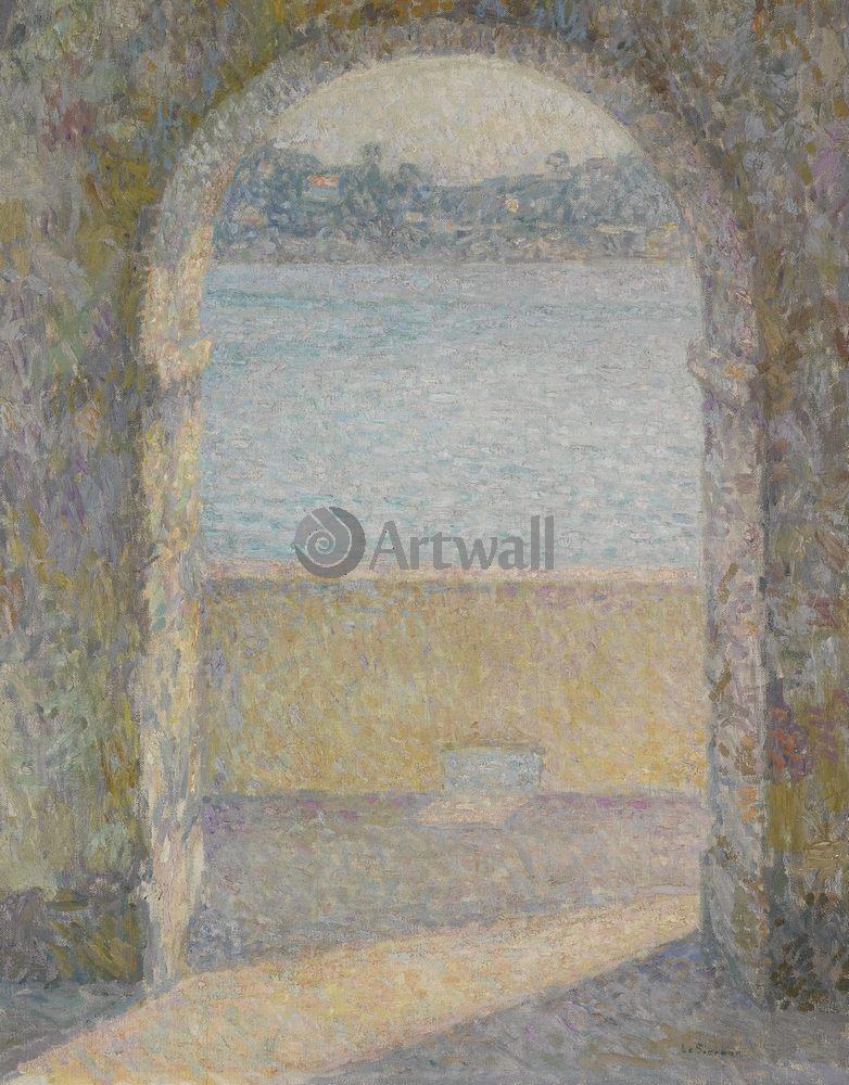 Сиданэ Анри Ле, картина Вид на море через каменную арку, Вильфранш-сюр-МерСиданэ Анри Ле<br>Репродукция на холсте или бумаге. Любого нужного вам размера. В раме или без. Подвес в комплекте. Трехслойная надежная упаковка. Доставим в любую точку России. Вам осталось только повесить картину на стену!<br>