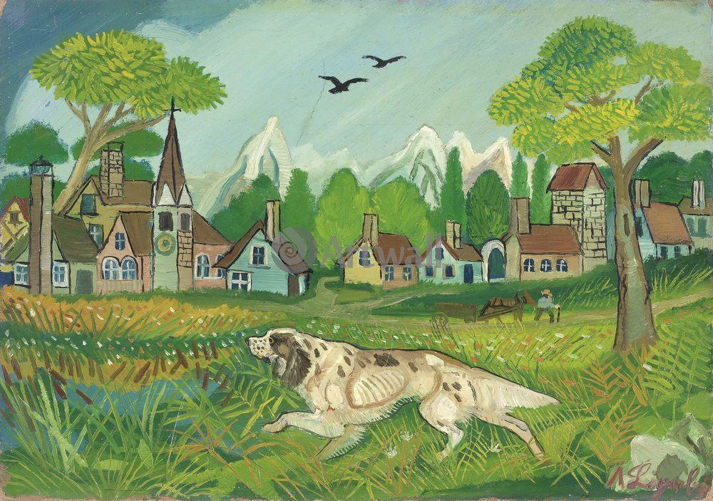 Примитивисты, картина Антонио Лигабуэ « Пейзаж с собакой»Примитивисты<br>Репродукция на холсте или бумаге. Любого нужного вам размера. В раме или без. Подвес в комплекте. Трехслойная надежная упаковка. Доставим в любую точку России. Вам осталось только повесить картину на стену!<br>
