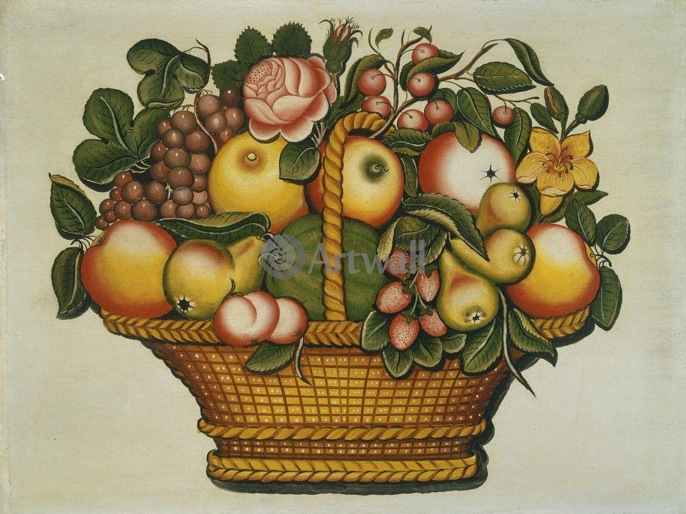Примитивисты, картина Неизвестный американский художник XIX века «Корзина с фруктами»Примитивисты<br>Репродукция на холсте или бумаге. Любого нужного вам размера. В раме или без. Подвес в комплекте. Трехслойная надежная упаковка. Доставим в любую точку России. Вам осталось только повесить картину на стену!<br>