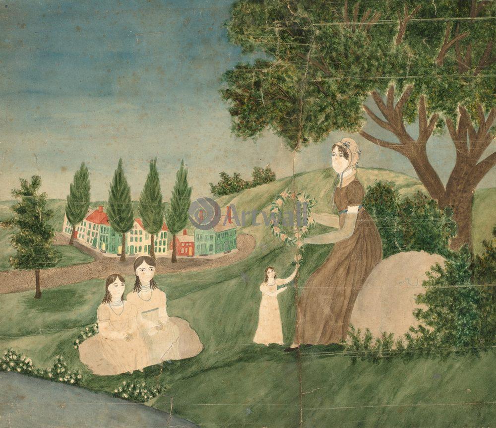 Примитивисты, картина Неизвестный американский художник XIX века «Мать с тремя дочками»Примитивисты<br>Репродукция на холсте или бумаге. Любого нужного вам размера. В раме или без. Подвес в комплекте. Трехслойная надежная упаковка. Доставим в любую точку России. Вам осталось только повесить картину на стену!<br>