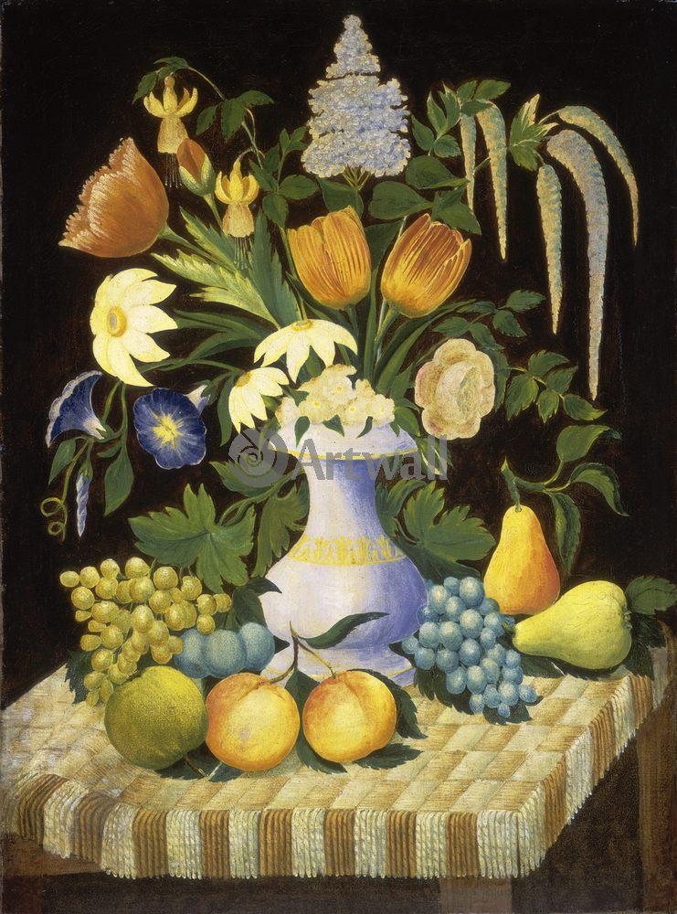 Примитивисты, картина Неизвестный американский художник XIX века «Цветы и фрукты»Примитивисты<br>Репродукция на холсте или бумаге. Любого нужного вам размера. В раме или без. Подвес в комплекте. Трехслойная надежная упаковка. Доставим в любую точку России. Вам осталось только повесить картину на стену!<br>
