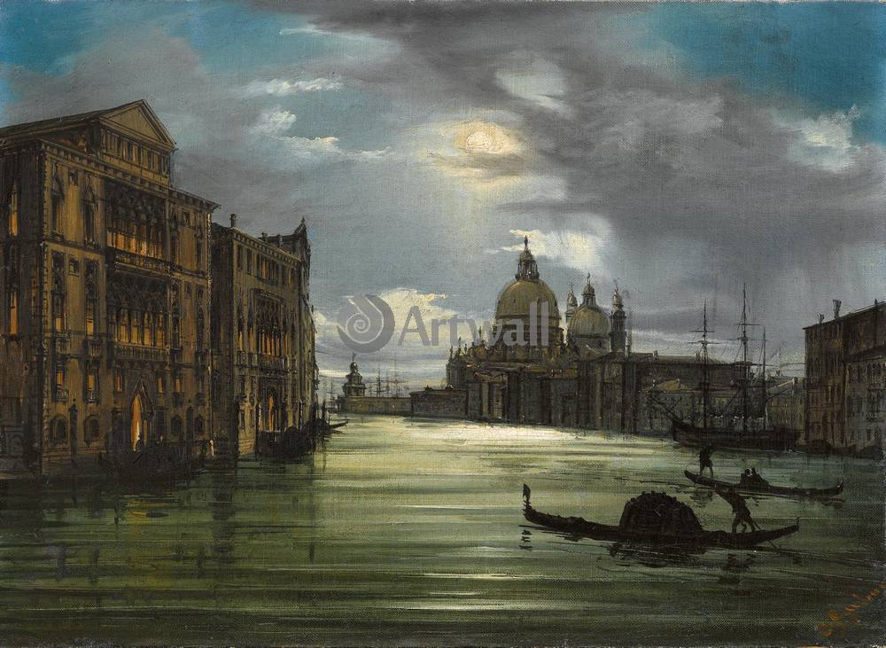 Венеция, картина Грубас Джованни, Вид Венеции в лунном светеВенеция<br>Репродукция на холсте или бумаге. Любого нужного вам размера. В раме или без. Подвес в комплекте. Трехслойная надежная упаковка. Доставим в любую точку России. Вам осталось только повесить картину на стену!<br>