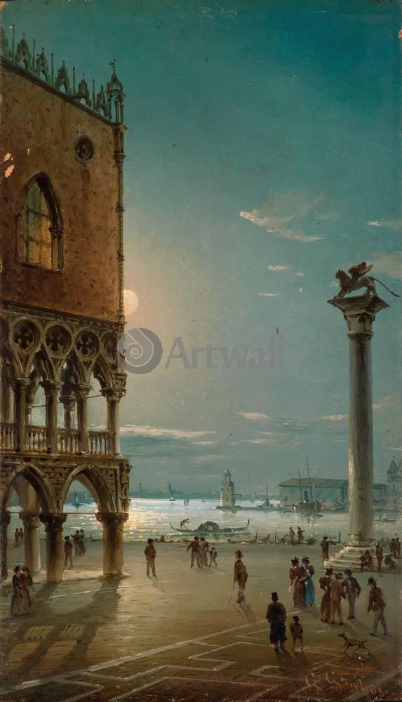 Венеция, картина Грубас Джованни, Лунный свет над площадью Сан МаркоВенеция<br>Репродукция на холсте или бумаге. Любого нужного вам размера. В раме или без. Подвес в комплекте. Трехслойная надежная упаковка. Доставим в любую точку России. Вам осталось только повесить картину на стену!<br>