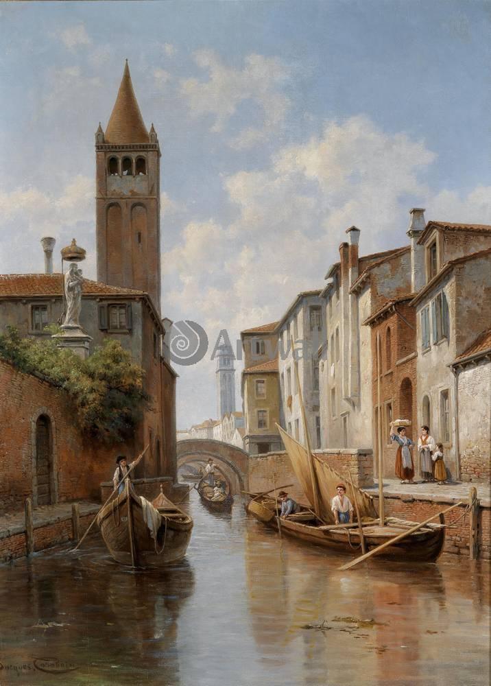Венеция, картина Жак Карабен, Канал Санта Барбара в ВенецииВенеция<br>Репродукция на холсте или бумаге. Любого нужного вам размера. В раме или без. Подвес в комплекте. Трехслойная надежная упаковка. Доставим в любую точку России. Вам осталось только повесить картину на стену!<br>