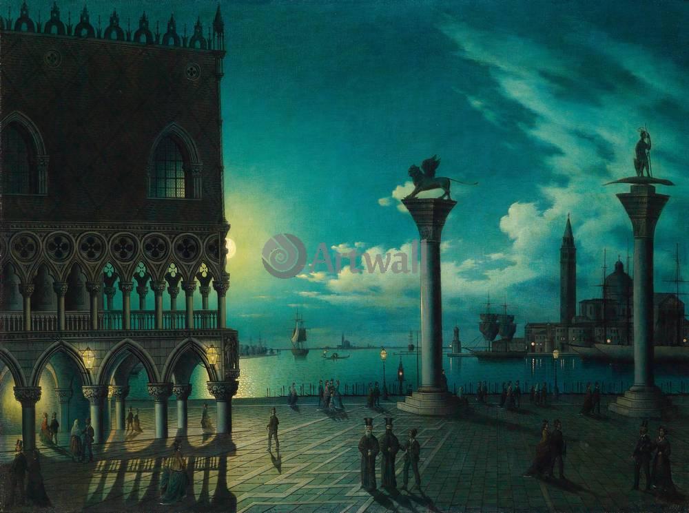 Венеция, картина Леони Колле, Луна над площадью Сан МаркоВенеция<br>Репродукция на холсте или бумаге. Любого нужного вам размера. В раме или без. Подвес в комплекте. Трехслойная надежная упаковка. Доставим в любую точку России. Вам осталось только повесить картину на стену!<br>