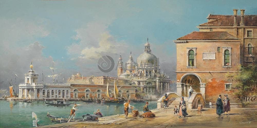 Венеция, картина Нитцшке Детлеф, Санта Мария делла Салюте перед Пунта деллаВенеция<br>Репродукция на холсте или бумаге. Любого нужного вам размера. В раме или без. Подвес в комплекте. Трехслойная надежная упаковка. Доставим в любую точку России. Вам осталось только повесить картину на стену!<br>