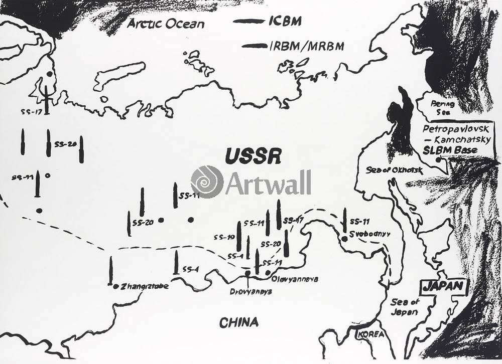 Уорхол Энди, картина Карта СССР, ракетные базыУорхол Энди<br>Репродукция на холсте или бумаге. Любого нужного вам размера. В раме или без. Подвес в комплекте. Трехслойная надежная упаковка. Доставим в любую точку России. Вам осталось только повесить картину на стену!<br>