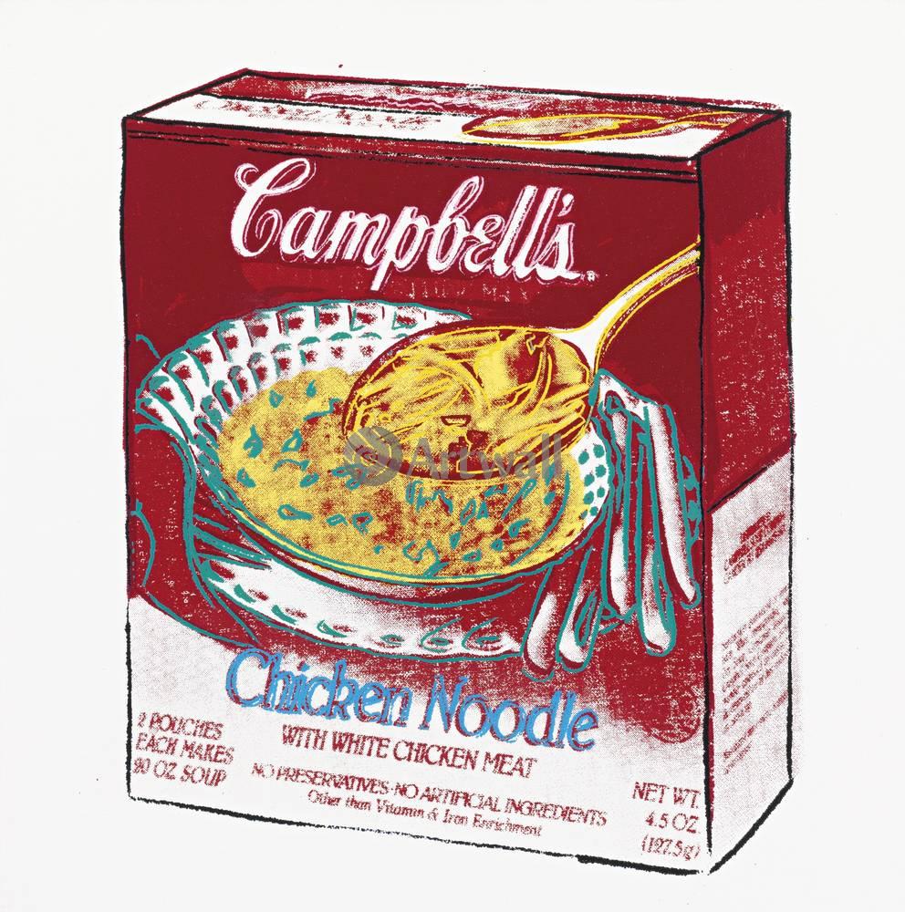 Уорхол Энди, картина Кемпбелл - Куриный суп с лапшойУорхол Энди<br>Репродукция на холсте или бумаге. Любого нужного вам размера. В раме или без. Подвес в комплекте. Трехслойная надежная упаковка. Доставим в любую точку России. Вам осталось только повесить картину на стену!<br>