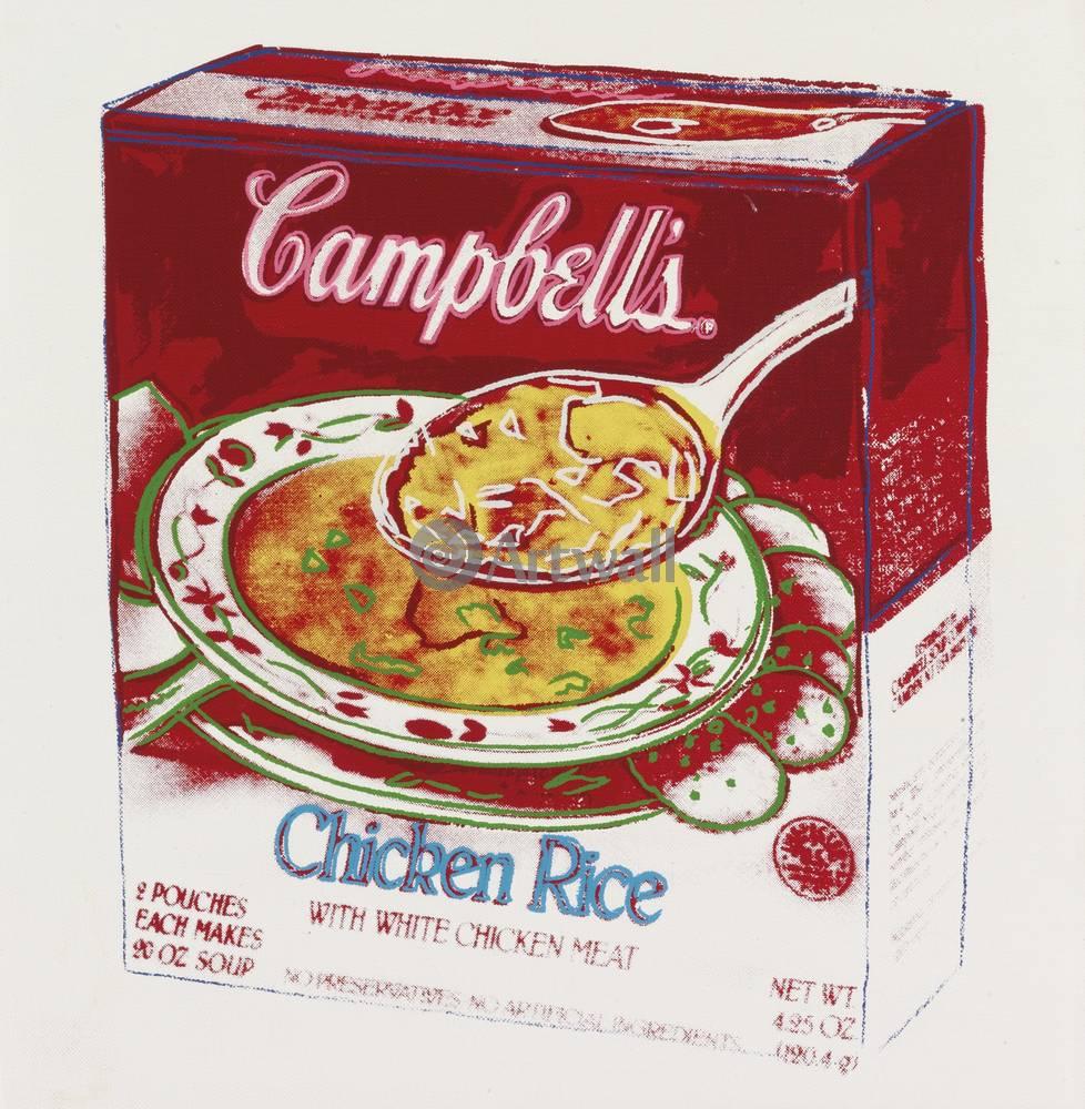 Уорхол Энди, картина Кемпбелл - Куриный суп с рисомУорхол Энди<br>Репродукция на холсте или бумаге. Любого нужного вам размера. В раме или без. Подвес в комплекте. Трехслойная надежная упаковка. Доставим в любую точку России. Вам осталось только повесить картину на стену!<br>