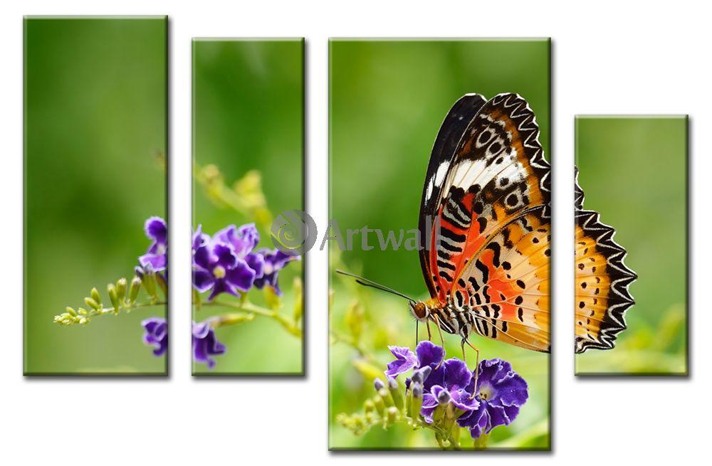 Модульная картина «Бабочка на цветке»Животные и птицы<br>Модульная картина на натуральном холсте и деревянном подрамнике. Подвес в комплекте. Трехслойная надежная упаковка. Доставим в любую точку России. Вам осталось только повесить картину на стену!<br>