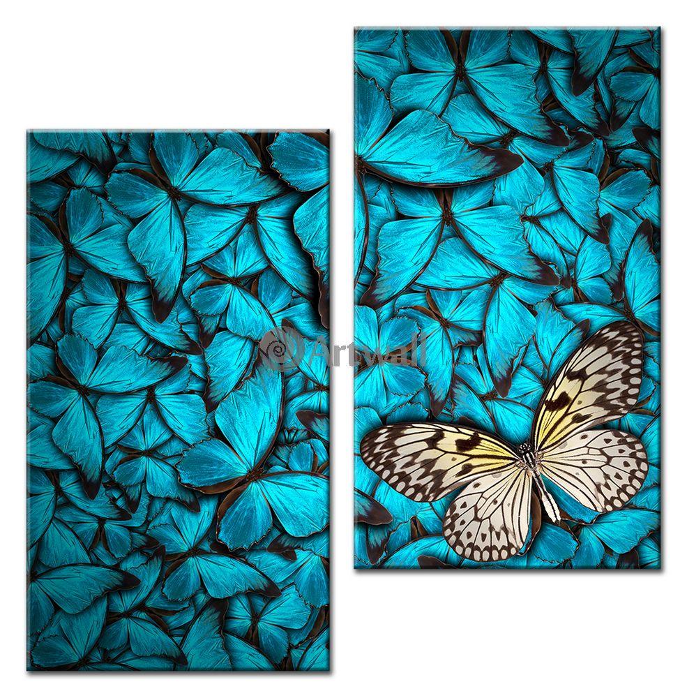 Модульная картина «С бабочками»Животные и птицы<br>Модульная картина на натуральном холсте и деревянном подрамнике. Подвес в комплекте. Трехслойная надежная упаковка. Доставим в любую точку России. Вам осталось только повесить картину на стену!<br>