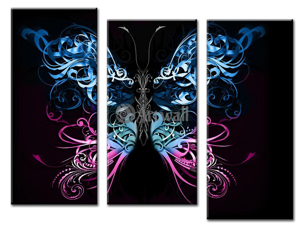 Модульная картина «Абстракция бабочки»Животные и птицы<br>Модульная картина на натуральном холсте и деревянном подрамнике. Подвес в комплекте. Трехслойная надежная упаковка. Доставим в любую точку России. Вам осталось только повесить картину на стену!<br>