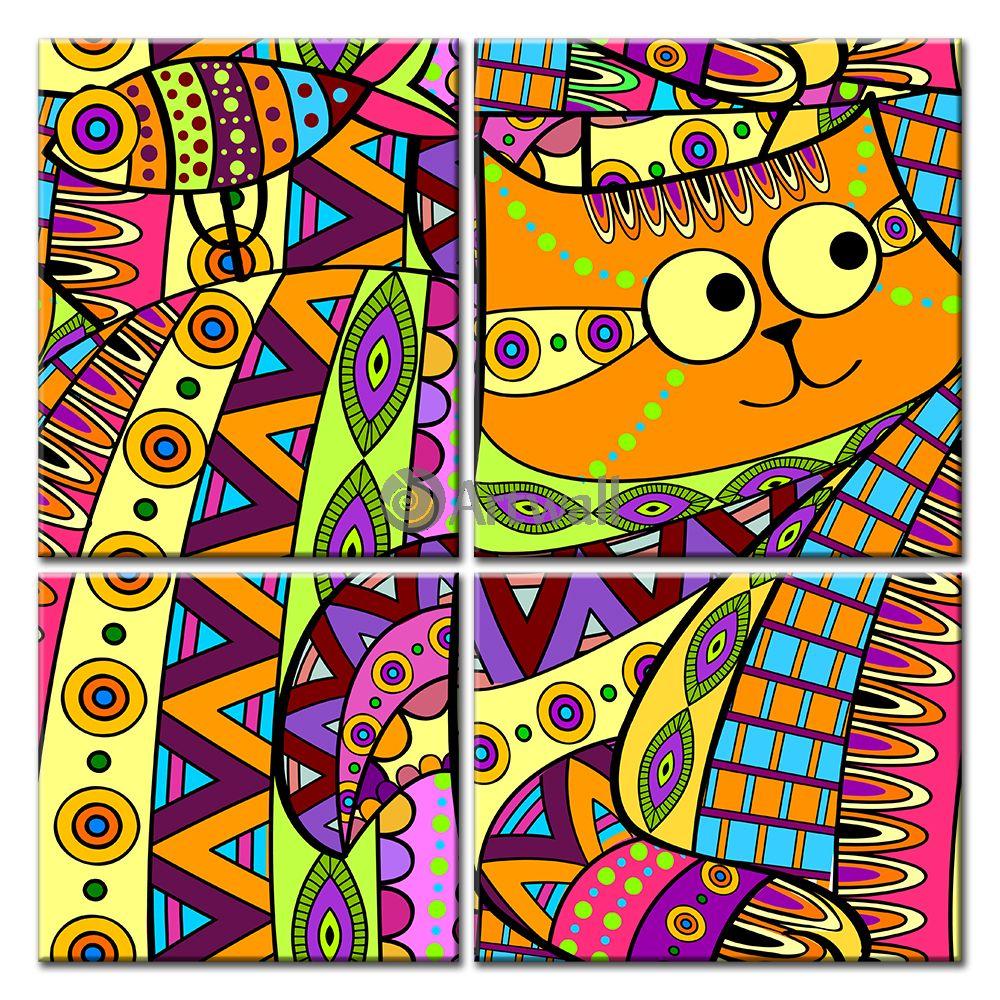 Модульная картина «Кошки-рыбки»Животные и птицы<br>Модульная картина на натуральном холсте и деревянном подрамнике. Подвес в комплекте. Трехслойная надежная упаковка. Доставим в любую точку России. Вам осталось только повесить картину на стену!<br>