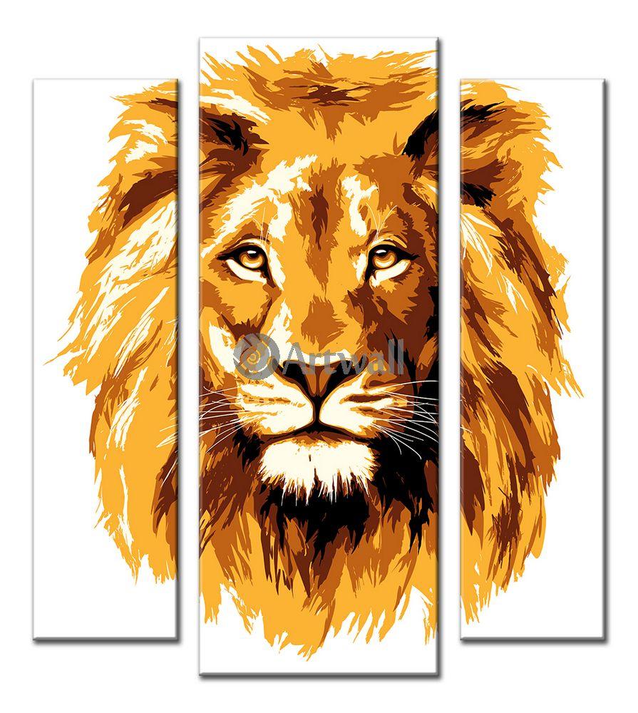 Модульная картина «Спокойный лев», 50x56 см, модульная картинаЖивотные и птицы<br>Модульная картина на натуральном холсте и деревянном подрамнике. Подвес в комплекте. Трехслойная надежная упаковка. Доставим в любую точку России. Вам осталось только повесить картину на стену!<br>