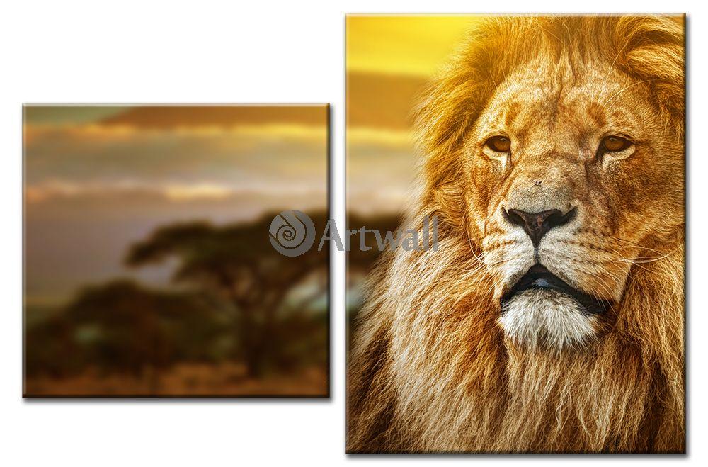 Модульная картина «Лев»Животные и птицы<br>Модульная картина на натуральном холсте и деревянном подрамнике. Подвес в комплекте. Трехслойная надежная упаковка. Доставим в любую точку России. Вам осталось только повесить картину на стену!<br>