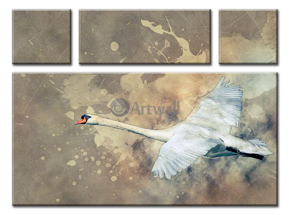 Модульная картина «Лебедь»Животные<br>Модульная картина на натуральном холсте и деревянном подрамнике. Подвес в комплекте. Трехслойная надежная упаковка. Доставим в любую точку России. Вам осталось только повесить картину на стену!<br>