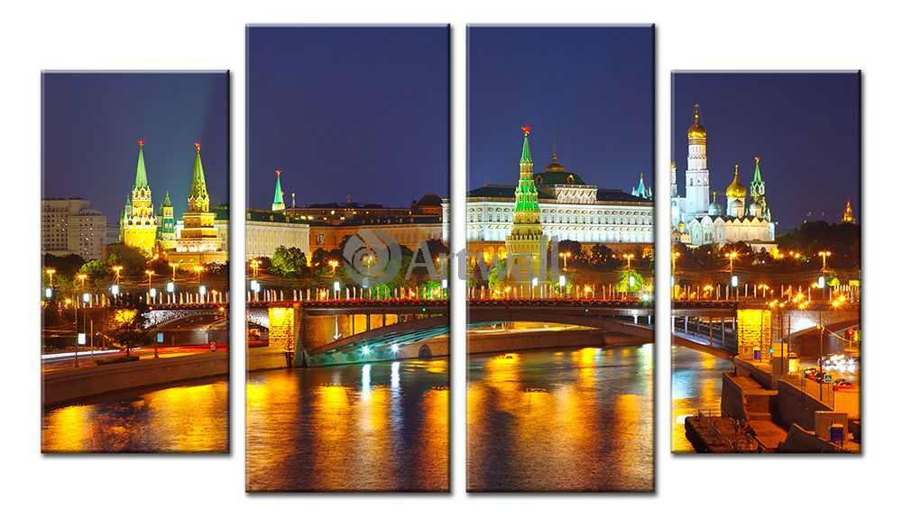Модульная картина «Московский Кремль», 87x50 см, модульная картинаГорода<br>Модульная картина на натуральном холсте и деревянном подрамнике. Подвес в комплекте. Трехслойная надежная упаковка. Доставим в любую точку России. Вам осталось только повесить картину на стену!<br>