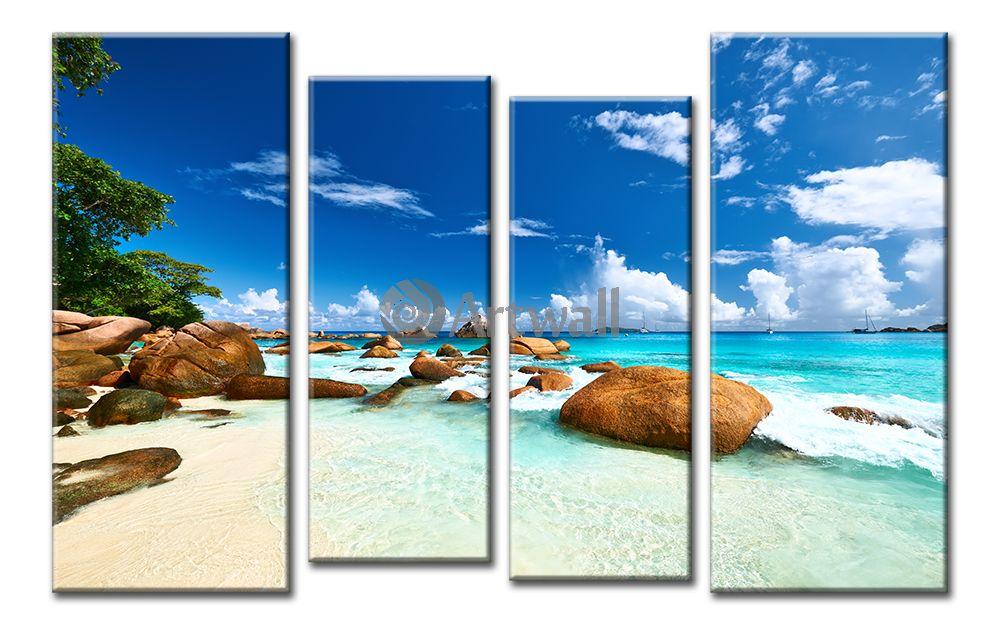 Модульная картина «Пляж с камнями»Море<br>Модульная картина на натуральном холсте и деревянном подрамнике. Подвес в комплекте. Трехслойная надежная упаковка. Доставим в любую точку России. Вам осталось только повесить картину на стену!<br>