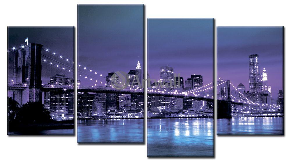 Модульная картина «Фиолетовый Нью-Йорк»Города<br>Модульная картина на натуральном холсте и деревянном подрамнике. Подвес в комплекте. Трехслойная надежная упаковка. Доставим в любую точку России. Вам осталось только повесить картину на стену!<br>