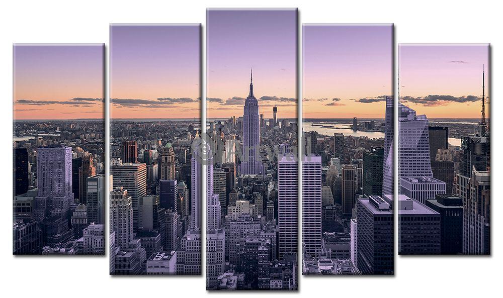 Модульная картина «Уходящая ночь в Нью-Йорке», 84x50 см, модульная картинаГорода<br>Модульная картина на натуральном холсте и деревянном подрамнике. Подвес в комплекте. Трехслойная надежная упаковка. Доставим в любую точку России. Вам осталось только повесить картину на стену!<br>