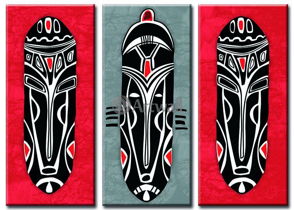 Модульная картина «Маски»Африканские мотивы<br>Модульная картина на натуральном холсте и деревянном подрамнике. Подвес в комплекте. Трехслойная надежная упаковка. Доставим в любую точку России. Вам осталось только повесить картину на стену!<br>
