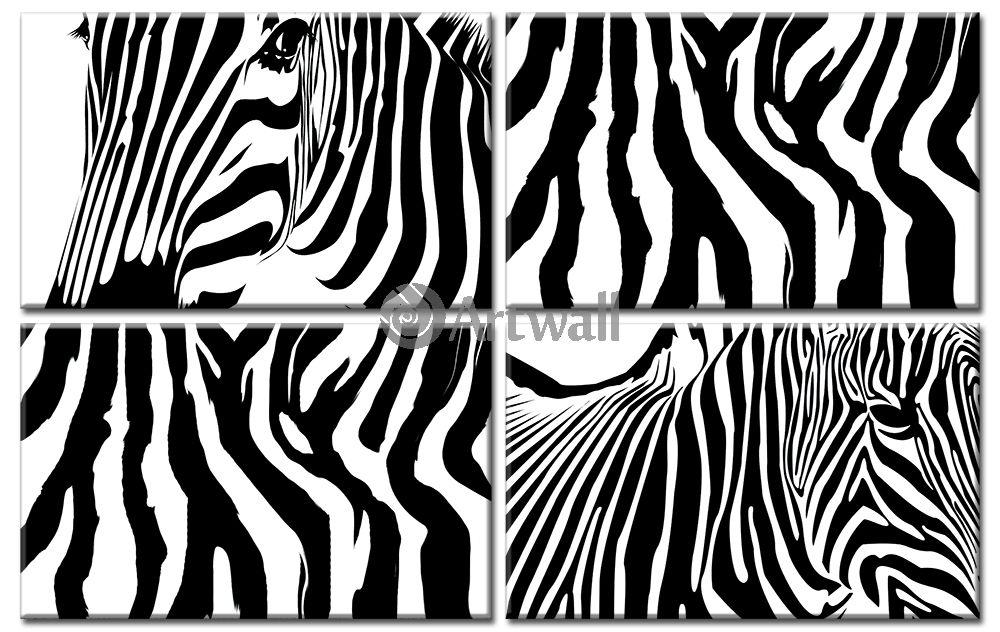 Модульная картина «Орнамент зебры»Животные и птицы<br>Модульная картина на натуральном холсте и деревянном подрамнике. Подвес в комплекте. Трехслойная надежная упаковка. Доставим в любую точку России. Вам осталось только повесить картину на стену!<br>