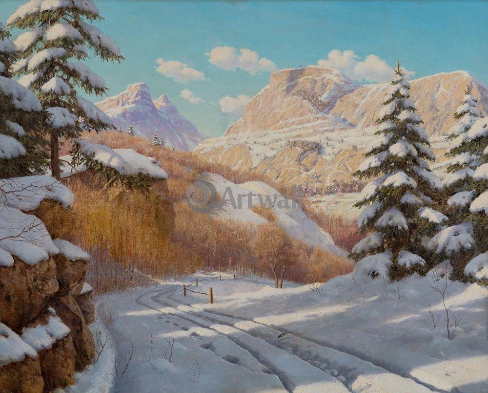 Бессонов Борис, картина Яркий зимний день в горахБессонов Борис<br>Репродукция на холсте или бумаге. Любого нужного вам размера. В раме или без. Подвес в комплекте. Трехслойная надежная упаковка. Доставим в любую точку России. Вам осталось только повесить картину на стену!<br>