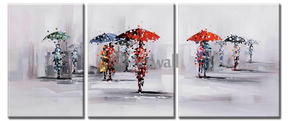 Модульная картина «Зонтики»Люди<br>Модульная картина на натуральном холсте и деревянном подрамнике. Подвес в комплекте. Трехслойная надежная упаковка. Доставим в любую точку России. Вам осталось только повесить картину на стену!<br>