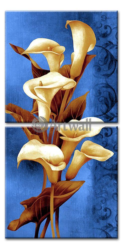 Модульная картина «Каллы на голубом»Цветы<br>Модульная картина на натуральном холсте и деревянном подрамнике. Подвес в комплекте. Трехслойная надежная упаковка. Доставим в любую точку России. Вам осталось только повесить картину на стену!<br>