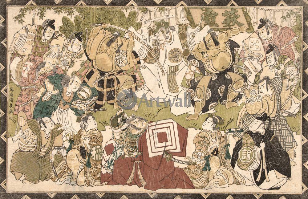 Японская гравюра Кабуки Тосюсай Сяраку,
