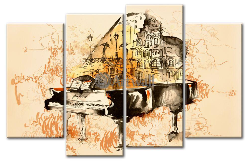 Модульная картина «Живая музыка»Люди<br>Модульная картина на натуральном холсте и деревянном подрамнике. Подвес в комплекте. Трехслойная надежная упаковка. Доставим в любую точку России. Вам осталось только повесить картину на стену!<br>