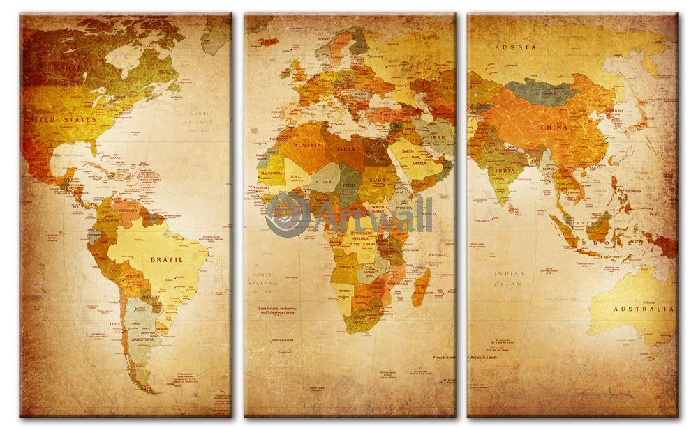 Модульная картина «Карта мира в ретро»Города<br>Модульная картина на натуральном холсте и деревянном подрамнике. Подвес в комплекте. Трехслойная надежная упаковка. Доставим в любую точку России. Вам осталось только повесить картину на стену!<br>