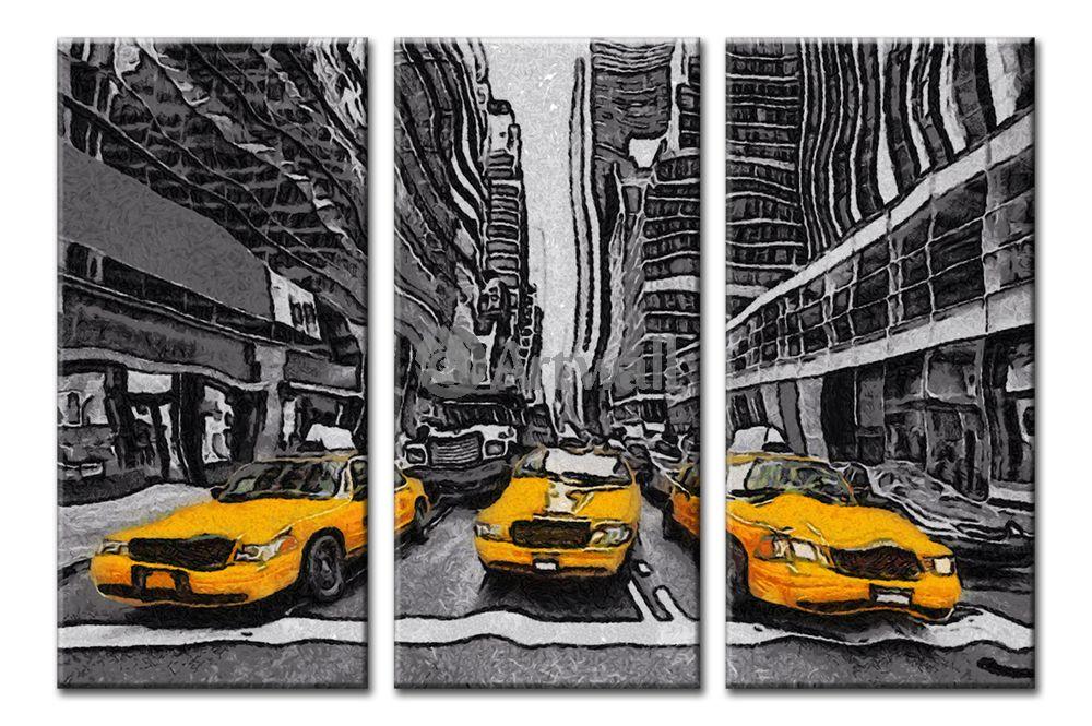 Модульная картина «Желтое такси Нью-Йорка»Города<br>Модульная картина на натуральном холсте и деревянном подрамнике. Подвес в комплекте. Трехслойная надежная упаковка. Доставим в любую точку России. Вам осталось только повесить картину на стену!<br>