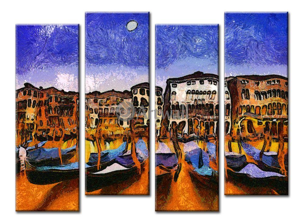 Модульная картина «Ночная Венеция»Города<br>Модульная картина на натуральном холсте и деревянном подрамнике. Подвес в комплекте. Трехслойная надежная упаковка. Доставим в любую точку России. Вам осталось только повесить картину на стену!<br>