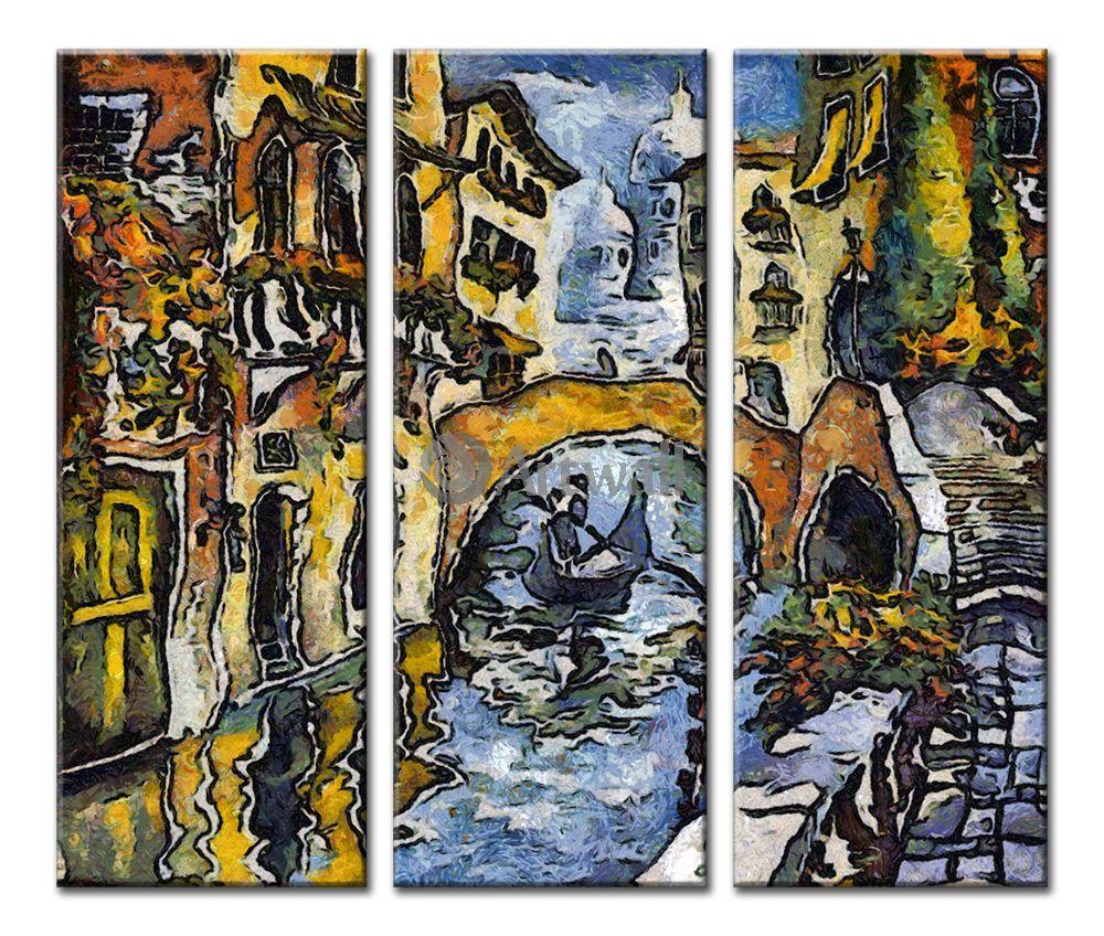 Модульная картина «Гондольер проплывающий под мостом»Города<br>Модульная картина на натуральном холсте и деревянном подрамнике. Подвес в комплекте. Трехслойная надежная упаковка. Доставим в любую точку России. Вам осталось только повесить картину на стену!<br>