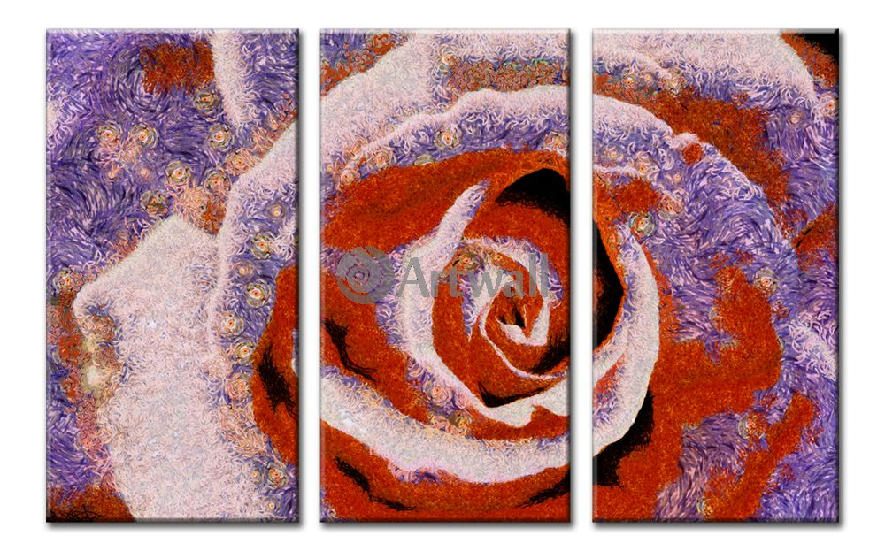 Модульная картина «Ночная роза»Цветы<br>Модульная картина на натуральном холсте и деревянном подрамнике. Подвес в комплекте. Трехслойная надежная упаковка. Доставим в любую точку России. Вам осталось только повесить картину на стену!<br>