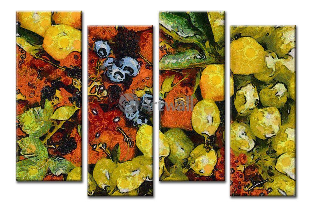 Модульная картина «Натюрморт по мотивам Ван Гога»Фрукты<br>Модульная картина на натуральном холсте и деревянном подрамнике. Подвес в комплекте. Трехслойная надежная упаковка. Доставим в любую точку России. Вам осталось только повесить картину на стену!<br>