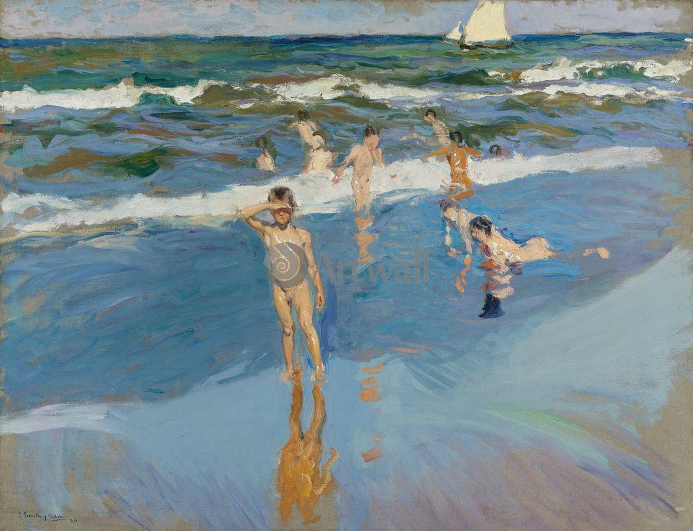 "Соролья Хоакин, картина ""Дети в море, берег Валенсии"" от Artwall"