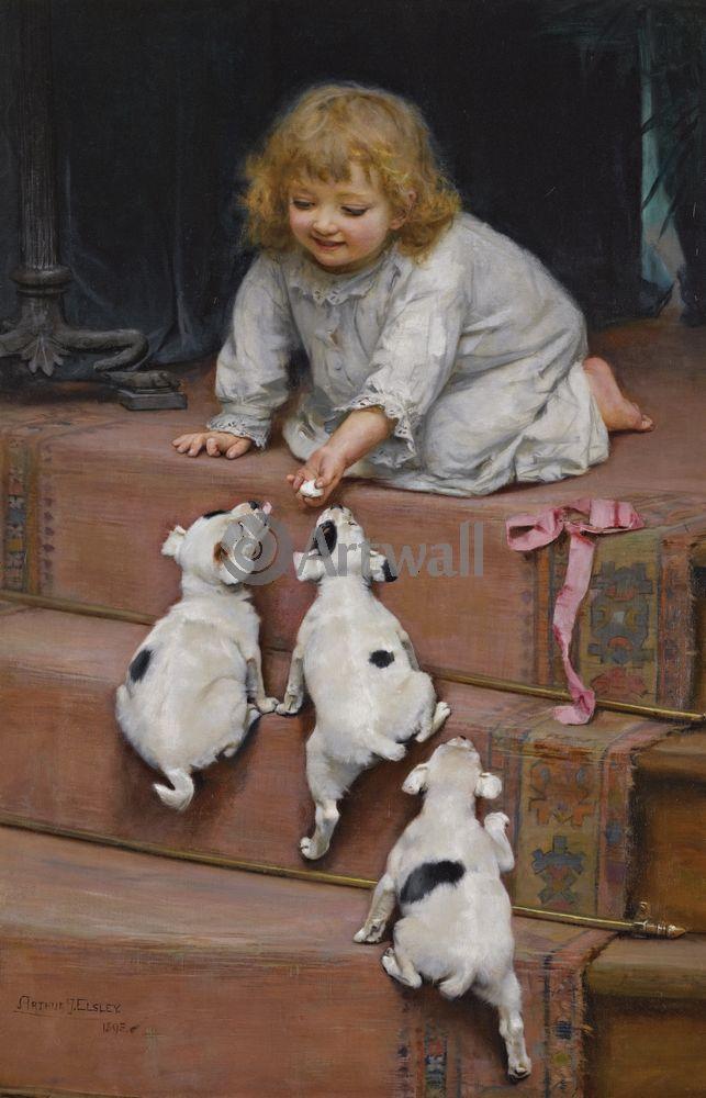 Дети в живописи, картина Артур Элслей «Девочка, играющая со щенками»Дети в живописи<br>Репродукция на холсте или бумаге. Любого нужного вам размера. В раме или без. Подвес в комплекте. Трехслойная надежная упаковка. Доставим в любую точку России. Вам осталось только повесить картину на стену!<br>