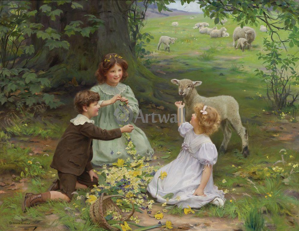 Дети в живописи, картина Артур Элслей «Дети, играющие с овечкой»Дети в живописи<br>Репродукция на холсте или бумаге. Любого нужного вам размера. В раме или без. Подвес в комплекте. Трехслойная надежная упаковка. Доставим в любую точку России. Вам осталось только повесить картину на стену!<br>
