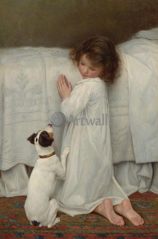 Дети в живописи, картина Вильям Кор «Девочка с собакой»Дети в живописи<br>Репродукция на холсте или бумаге. Любого нужного вам размера. В раме или без. Подвес в комплекте. Трехслойная надежная упаковка. Доставим в любую точку России. Вам осталось только повесить картину на стену!<br>