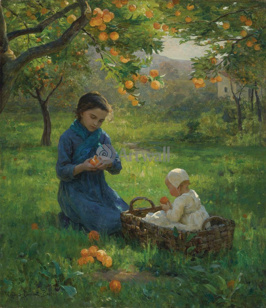 Дети в живописи, картина Виргиния Демонт-Бретон «Дети в апельсиновом саду»Дети в живописи<br>Репродукция на холсте или бумаге. Любого нужного вам размера. В раме или без. Подвес в комплекте. Трехслойная надежная упаковка. Доставим в любую точку России. Вам осталось только повесить картину на стену!<br>