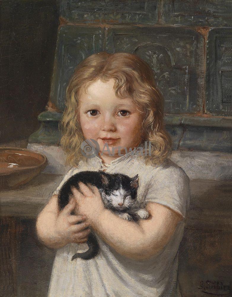 Дети в живописи, картина Георг Тейблер «Девочка с котенком»Дети в живописи<br>Репродукция на холсте или бумаге. Любого нужного вам размера. В раме или без. Подвес в комплекте. Трехслойная надежная упаковка. Доставим в любую точку России. Вам осталось только повесить картину на стену!<br>
