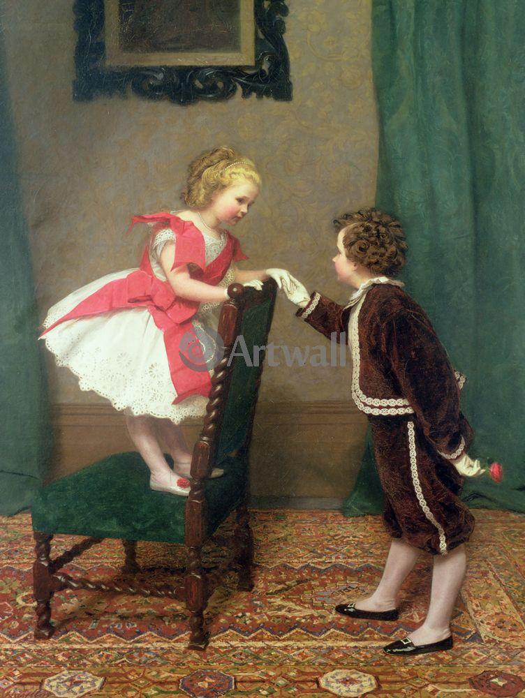 Дети в живописи, картина Джеймс Хайлар «Мисс Лилия, первый флирт»Дети в живописи<br>Репродукция на холсте или бумаге. Любого нужного вам размера. В раме или без. Подвес в комплекте. Трехслойная надежная упаковка. Доставим в любую точку России. Вам осталось только повесить картину на стену!<br>