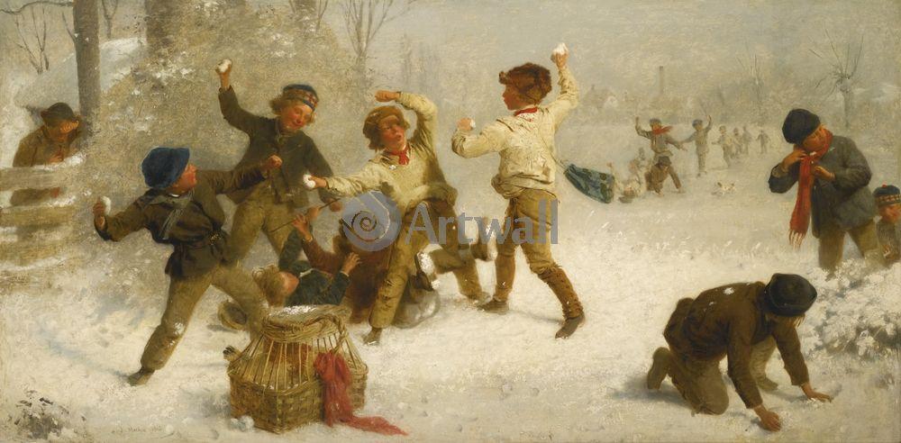 Дети в живописи, картина Джон Морган «Игра в снежки»Дети в живописи<br>Репродукция на холсте или бумаге. Любого нужного вам размера. В раме или без. Подвес в комплекте. Трехслойная надежная упаковка. Доставим в любую точку России. Вам осталось только повесить картину на стену!<br>
