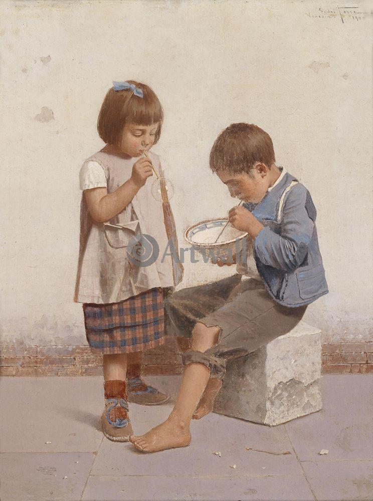 Дети в живописи, картина Джулио дель Торре «Пускание мыльных пузырей»Дети в живописи<br>Репродукция на холсте или бумаге. Любого нужного вам размера. В раме или без. Подвес в комплекте. Трехслойная надежная упаковка. Доставим в любую точку России. Вам осталось только повесить картину на стену!<br>