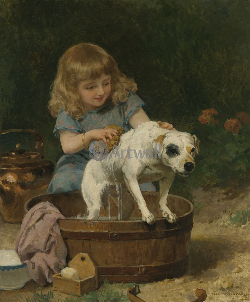 Дети в живописи, картина Луис де Швайер «Девочка, купающая собаку»Дети в живописи<br>Репродукция на холсте или бумаге. Любого нужного вам размера. В раме или без. Подвес в комплекте. Трехслойная надежная упаковка. Доставим в любую точку России. Вам осталось только повесить картину на стену!<br>