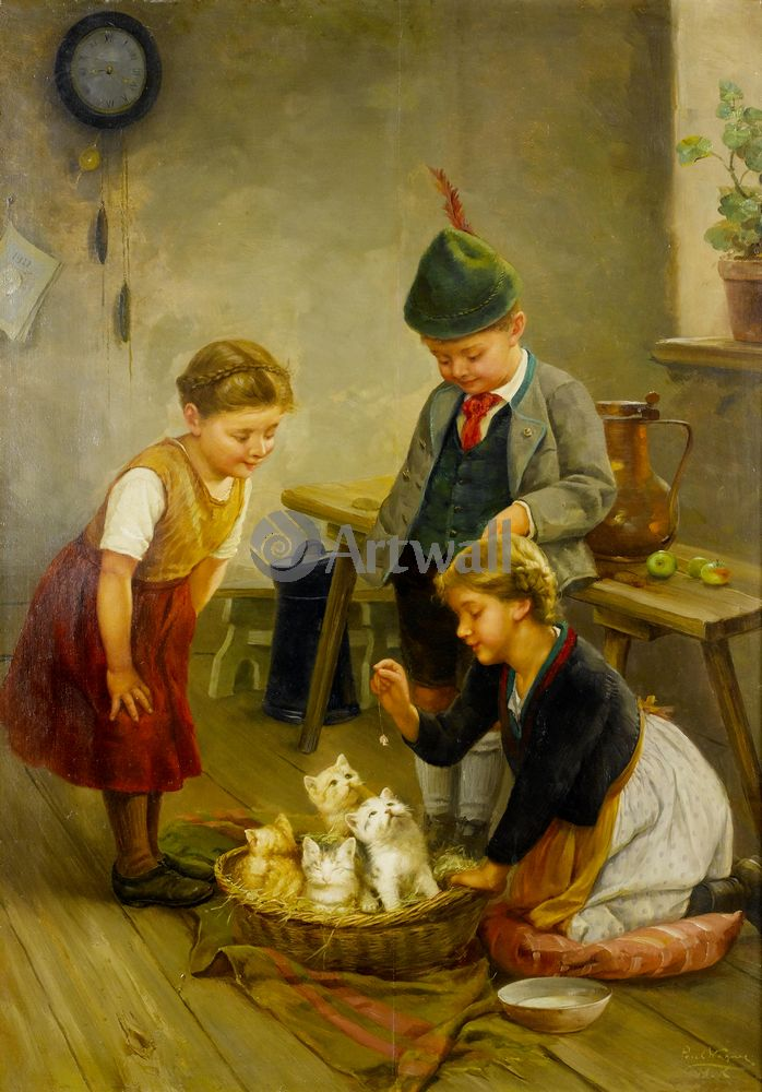 Дети в живописи, картина Пауль Вагнер «Дети, играющие с котятами»Дети в живописи<br>Репродукция на холсте или бумаге. Любого нужного вам размера. В раме или без. Подвес в комплекте. Трехслойная надежная упаковка. Доставим в любую точку России. Вам осталось только повесить картину на стену!<br>