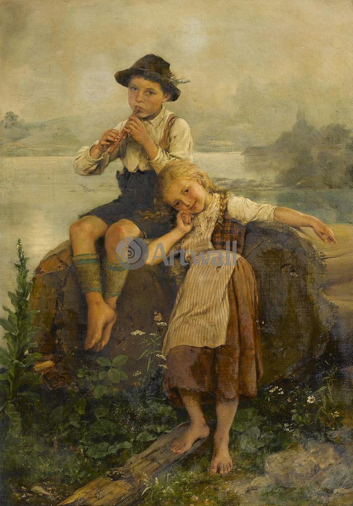 Дети в живописи, картина Пауль Вагнер «Юный флейтист»Дети в живописи<br>Репродукция на холсте или бумаге. Любого нужного вам размера. В раме или без. Подвес в комплекте. Трехслойная надежная упаковка. Доставим в любую точку России. Вам осталось только повесить картину на стену!<br>